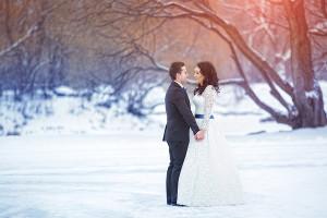 зимняя свадьба в сине белых тонах